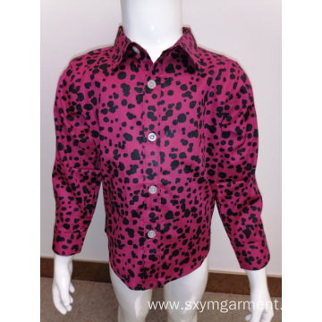 Cotton spandex print long-sleeve shirt